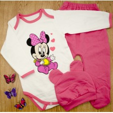 Комплект детский MirAks SCL-5292-01 Pink (Розовый/шапочка + боди + штанишки/начес/накат)