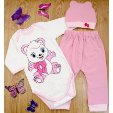 Комплект детский MirAks SCL-4867-00 Pink (Розовый/шапочка + боди + штанишки/начес/накат)