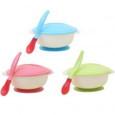Тарелка для детей MirAks PE-4437 ( 280 мл/с крышкой/ложечка меняет цвет от температуры/на присоске)