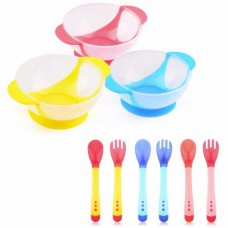 Тарелка для детей MirAks PE-5389 ( 280 мл/ложечка и вилочка меняеют цвет от температуры/на присоске)